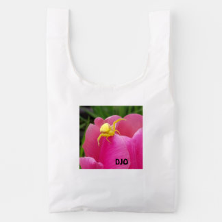Bright Yellow Spider on Pink Flower your initials Reusable Bag