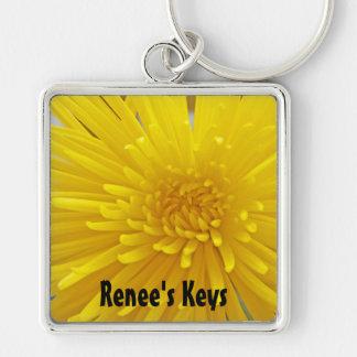 Bright Yellow Spiky Dahlia Close Up Photograph Keychain
