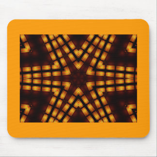 Bright yellow star on bla catching fractal pattern mouse pad
