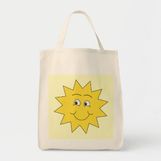Bright Yellow Summer Sun. Smiling Face. Bag