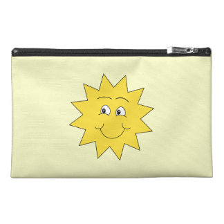 Bright Yellow Summer Sun. Smiling Face. Travel Accessories Bag
