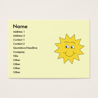 Bright Yellow Summer Sun. Smiling Face. Business Card
