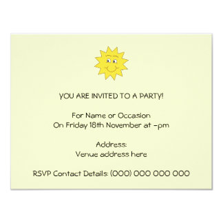 Bright Yellow Summer Sun. Smiling Face. Card