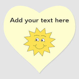 Bright Yellow Summer Sun. Smiling Face. Heart Sticker