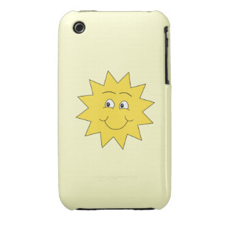 Bright Yellow Summer Sun. Smiling Face. iPhone 3 Case