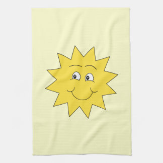 Bright Yellow Summer Sun. Smiling Face. Kitchen Towel