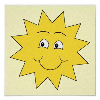 Bright Yellow Summer Sun. Smiling Face. Posters