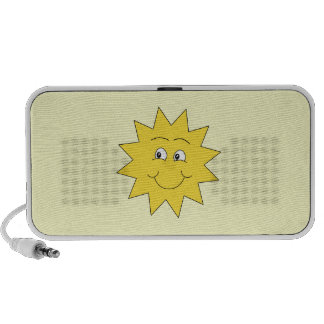 Bright Yellow Summer Sun. Smiling Face. Travelling Speaker