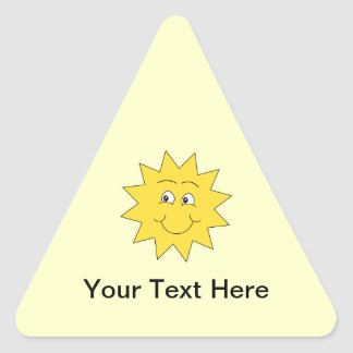 Bright Yellow Summer Sun. Smiling Face. Triangle Sticker