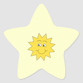 Bright Yellow Summer Sun. Smiling Face. Stickers