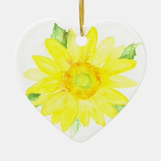 Bright Yellow Summer Sunflower Watercolor Ceramic Ornament