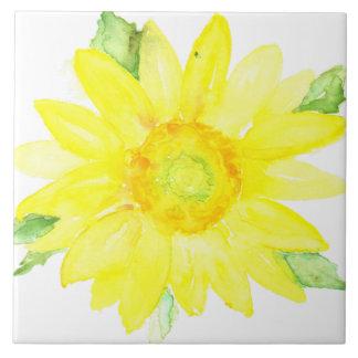 Bright Yellow Summer Sunflower Watercolor Ceramic Tile