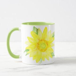 Bright Yellow Summer Sunflower Watercolor Mug