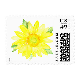 Bright Yellow Summer Sunflower Watercolor Postage