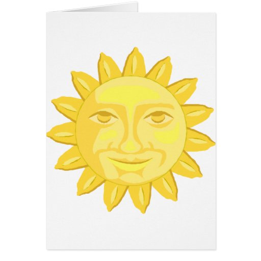 bright yellow sun graphic greeting card