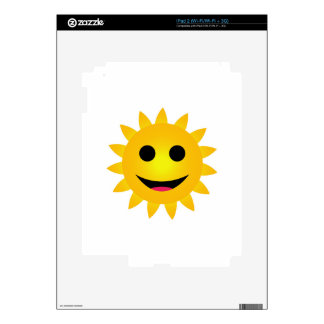 Bright yellow sun smiling decal for the iPad 2