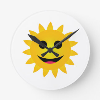 Bright yellow sun smiling round clock