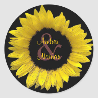 Bright Yellow Sunflower Bride & Groom Wedding Classic Round Sticker