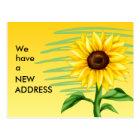 Bright Yellow Sunflower Change of Address Postcard