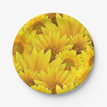 Bright Yellow Sunflower Daisy Floral Pattern Paper Plate