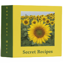 Bright Yellow Sunflower Field Harvest Binder