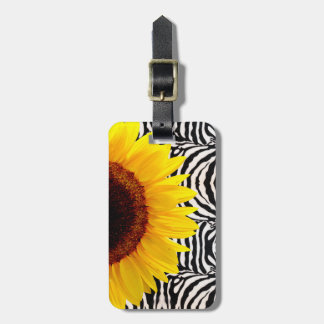 Bright Yellow Sunflower on Zebra Print Stripes Bag Tag