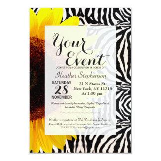 Bright Yellow Sunflower on Zebra Print Stripes 3.5x5 Paper Invitation Card