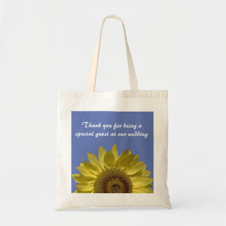 Bright yellow sunflowers thank you tote bag