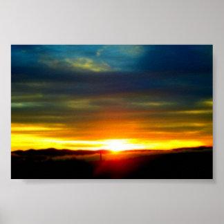 Bright yellow Sunset. Poster