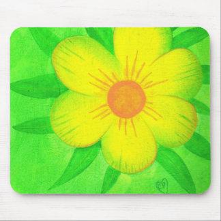 Bright Yellow Sunshine Flower Green Mousepads