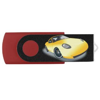 Bright Yellow Superfast Toon Sports Car Drive Swivel USB 2.0 Flash Drive