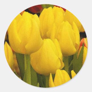 Bright Yellow Tulips Classic Round Sticker