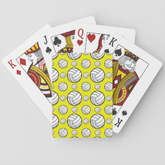 Bright Yellow Volleyball Pattern Playing Cards