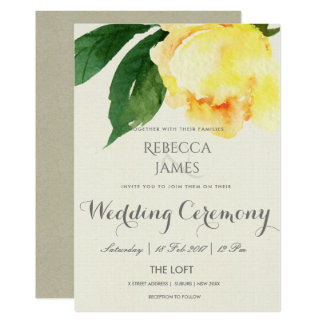 BRIGHT YELLOW WATERCOLOR FLORAL WEDDING CARD