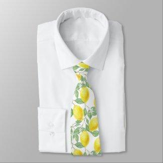 Bright Yellow Watercolor Lemon Tree Lemon Pattern Neck Tie