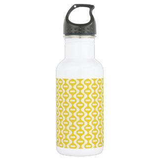 Bright Yellow Wavy Retro Pattern Stainless Steel Water Bottle