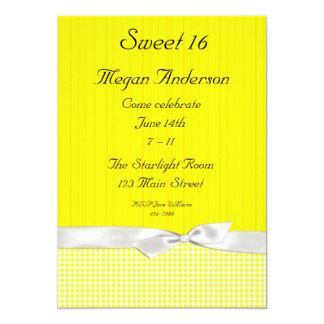 Bright Yellow White Checks Bow Invitation