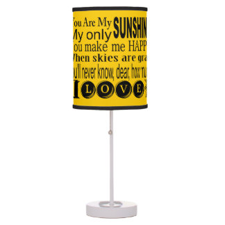 Bright Yellow You Are My Sunshine Table Lamp