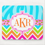 Bright Zebra Leopard and Chevron Personalized Mousepad