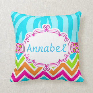 Bright Zebra Leopard and Chevron Personalized Throw Pillow