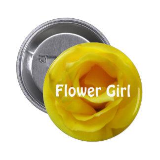 Brightest Yellow Rose Wedding Pinback Button