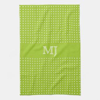 BrightGreen Polkadot Pattern-Monogram Towels