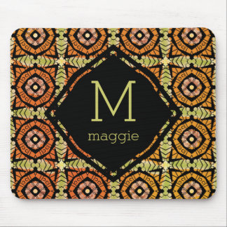 Brightly colored batik type pattern mouse pad