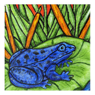 Brightly colored Blue Fantasy Frog on Lily Pad Acrylic Wall Art