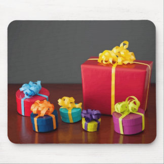Brightly Colored Christmas Gift Boxes Mouse Pad