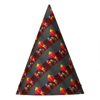 Brightly Colored Christmas Gift Boxes Party Hat