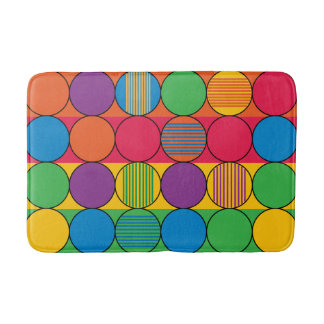 Brightly Colored Circles and Stripes Bathroom Mat