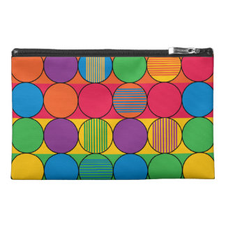 Brightly Colored Circles and Stripes Travel Accessory Bag