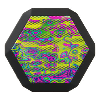 Brightly colored colorful abstract pattern black bluetooth speaker