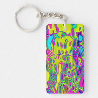 Brightly Colored Crazy Colorful Abstract Pattern Keychain